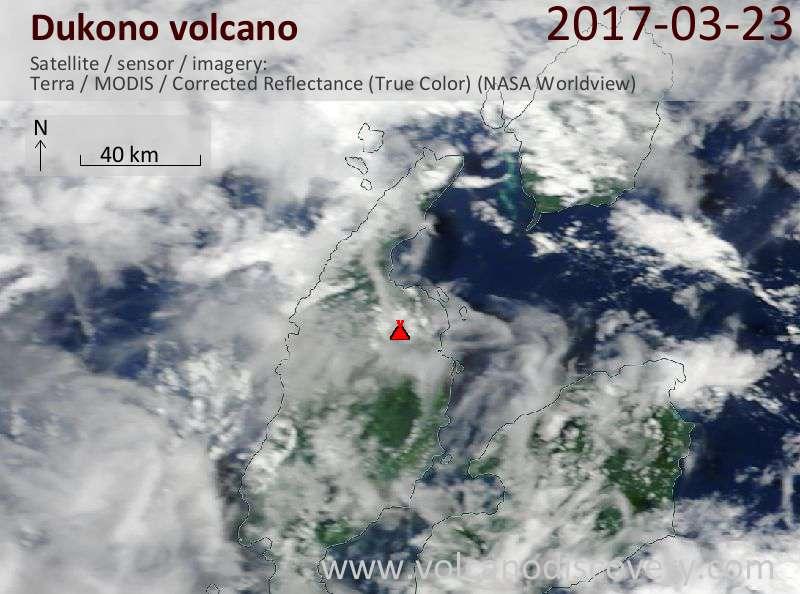 Satellite image of Dukono volcano on 23 Mar 2017