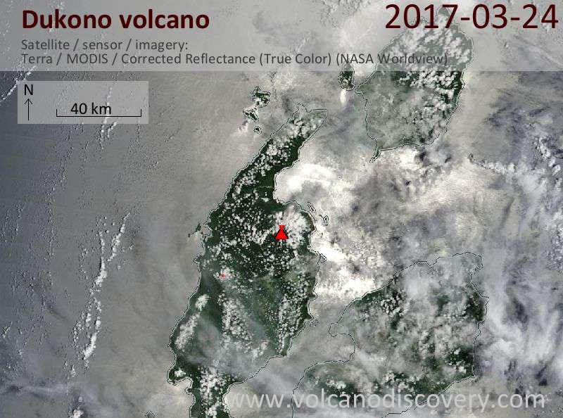 Satellite image of Dukono volcano on 24 Mar 2017