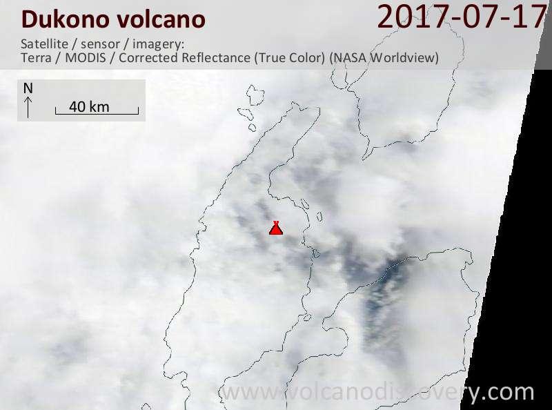 Satellite image of Dukono volcano on 17 Jul 2017