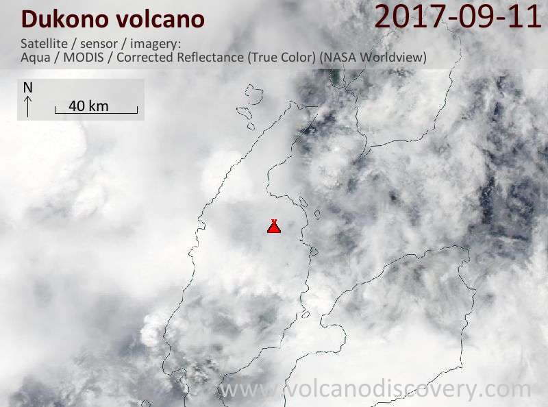 Satellite image of Dukono volcano on 11 Sep 2017