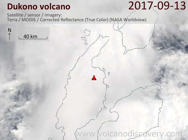 Satellite image of Dukono volcano on 13 Sep 2017