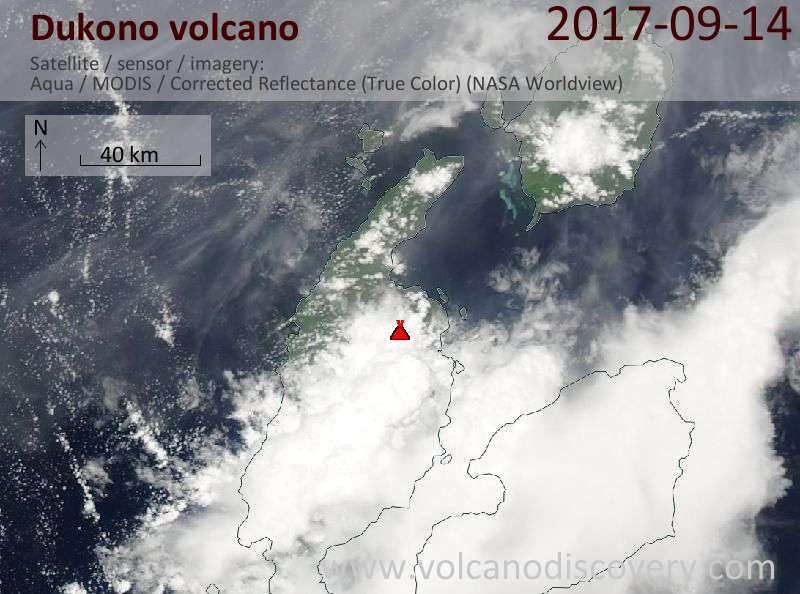 Satellite image of Dukono volcano on 14 Sep 2017