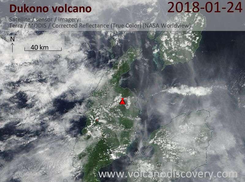 Satellite image of Dukono volcano on 24 Jan 2018