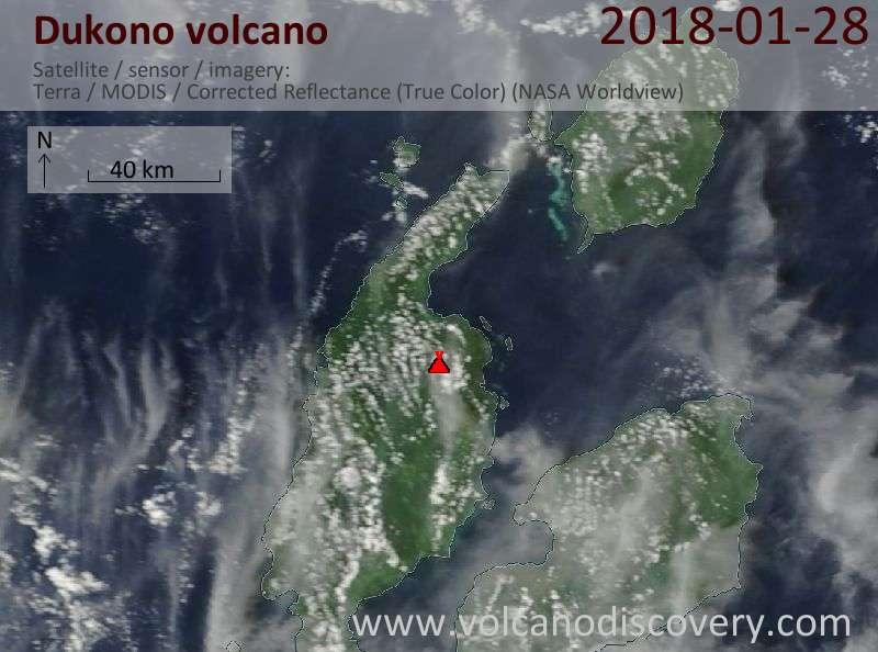 Satellite image of Dukono volcano on 28 Jan 2018