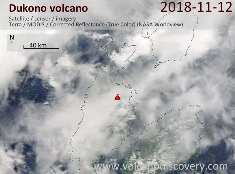 Satellite image of Dukono volcano on 12 Nov 2018