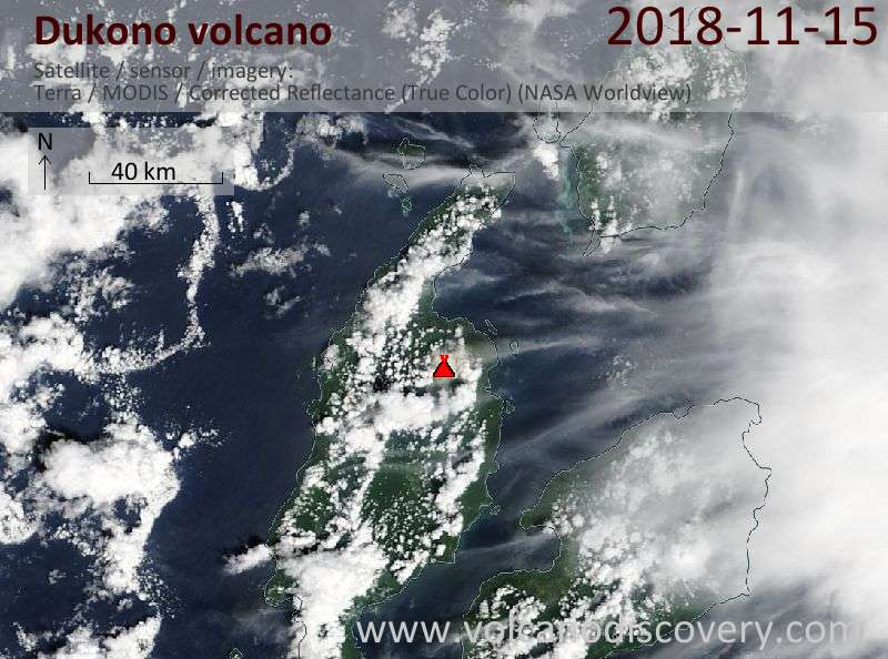 Satellite image of Dukono volcano on 15 Nov 2018