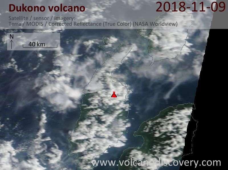 Satellite image of Dukono volcano on  9 Nov 2018
