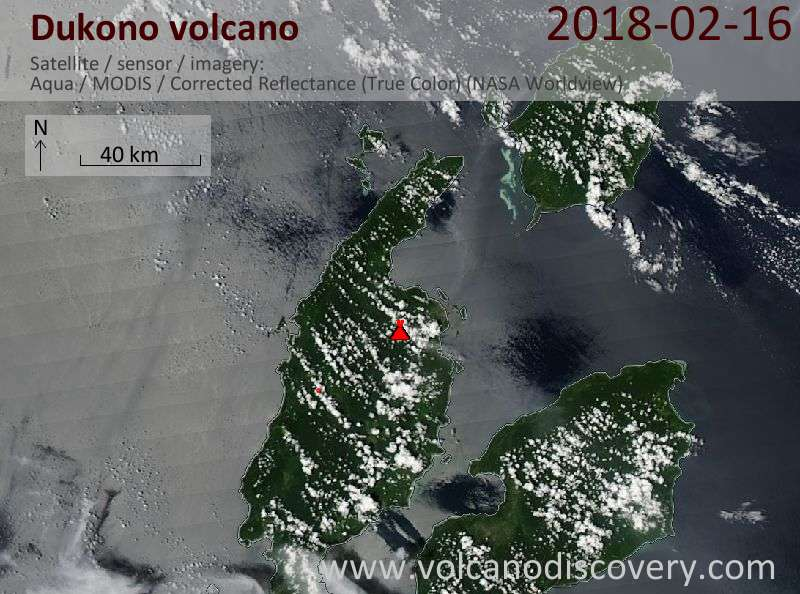 Satellite image of Dukono volcano on 16 Feb 2018