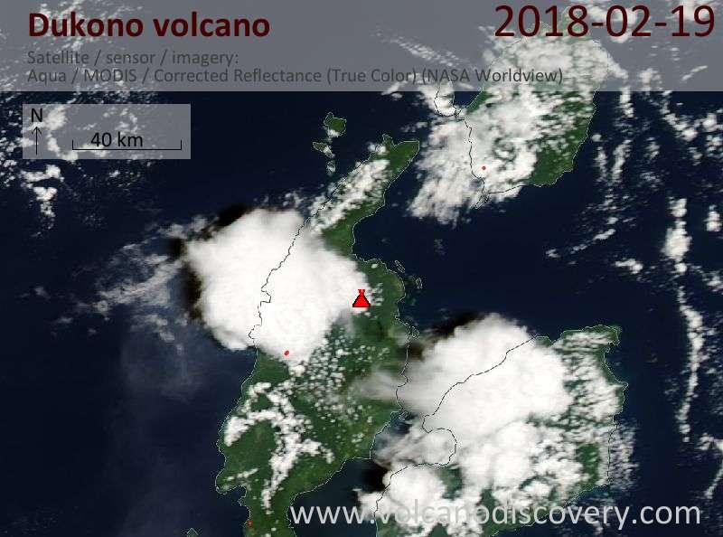 Satellite image of Dukono volcano on 19 Feb 2018