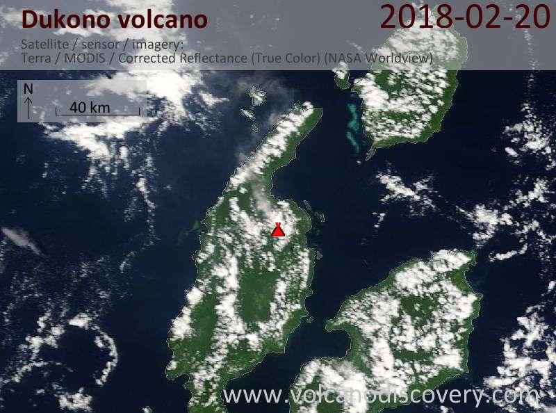 Satellite image of Dukono volcano on 20 Feb 2018
