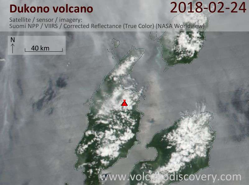 Satellite image of Dukono volcano on 24 Feb 2018