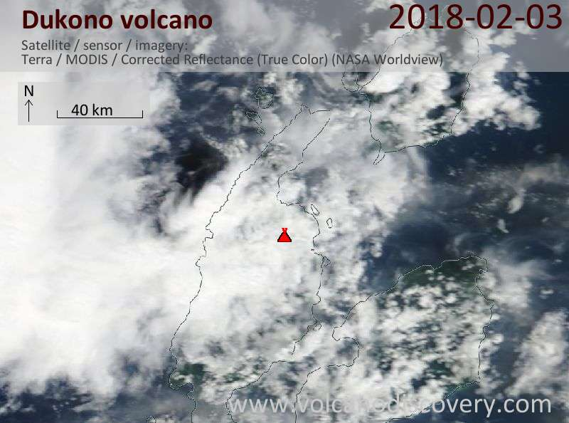 Satellite image of Dukono volcano on  3 Feb 2018