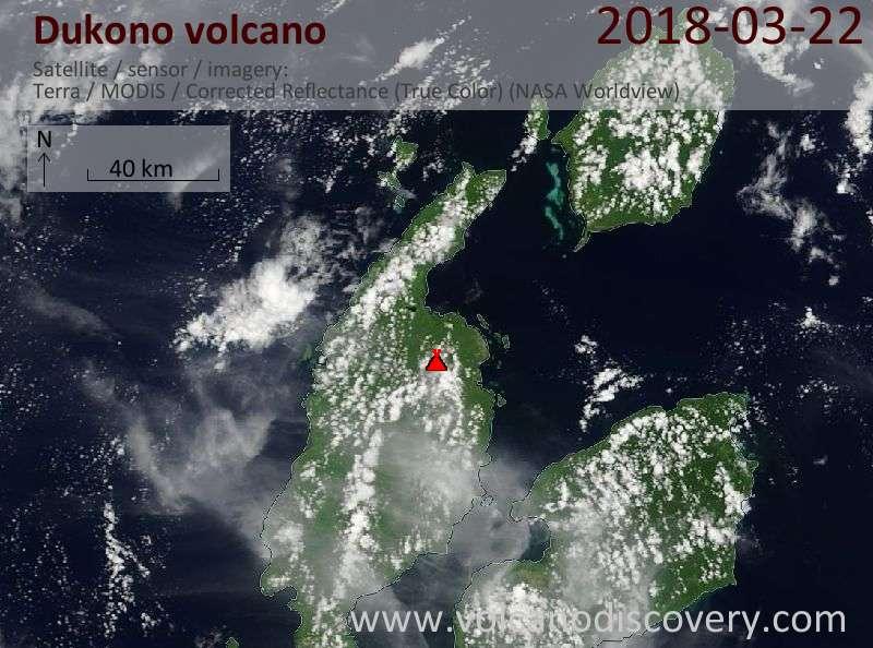 Satellite image of Dukono volcano on 22 Mar 2018
