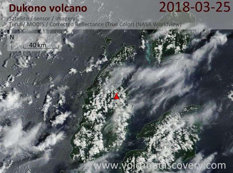 Satellite image of Dukono volcano on 25 Mar 2018