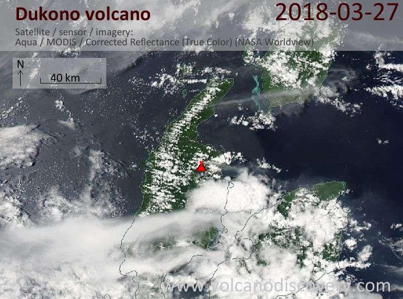 Satellite image of Dukono volcano on 27 Mar 2018