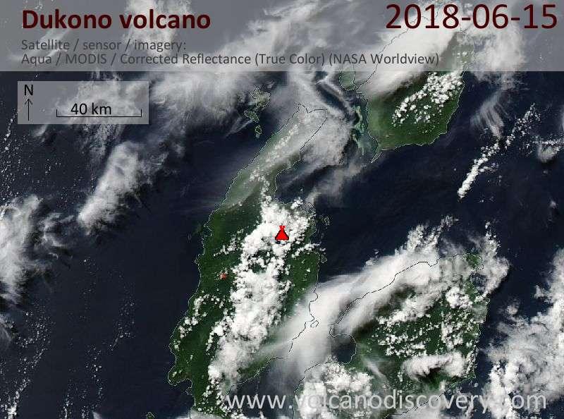 Satellite image of Dukono volcano on 15 Jun 2018