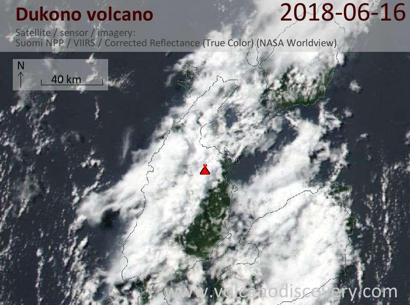 Satellite image of Dukono volcano on 16 Jun 2018