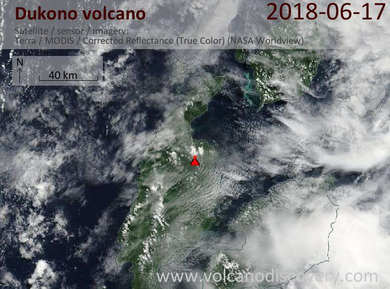 Satellite image of Dukono volcano on 17 Jun 2018