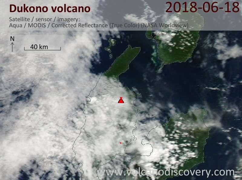 Satellite image of Dukono volcano on 18 Jun 2018
