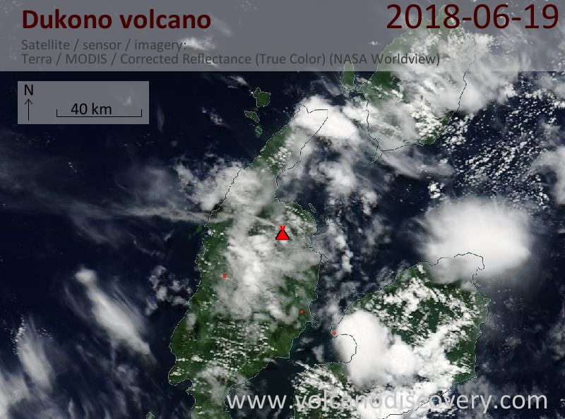 Satellite image of Dukono volcano on 19 Jun 2018