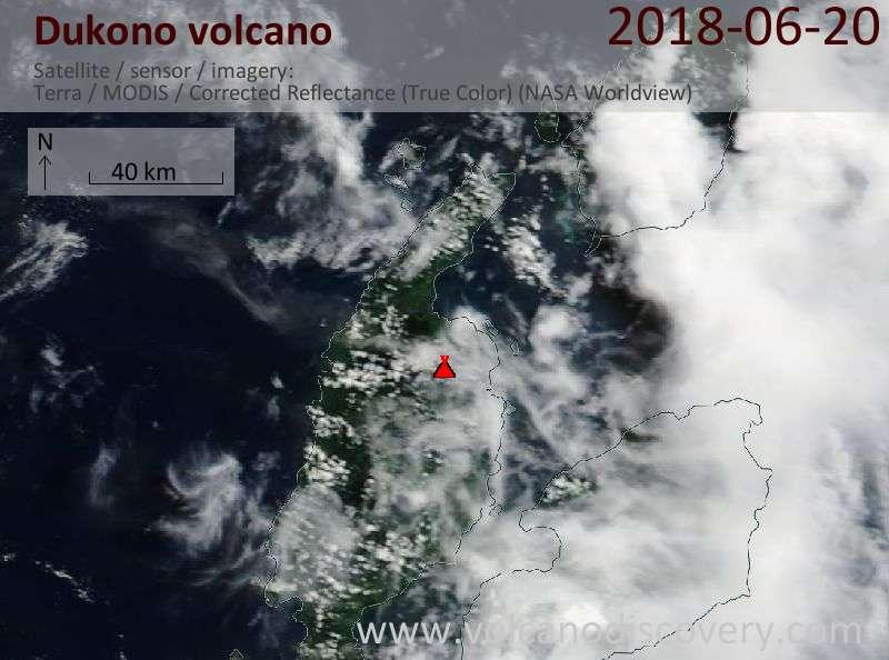 Satellite image of Dukono volcano on 20 Jun 2018