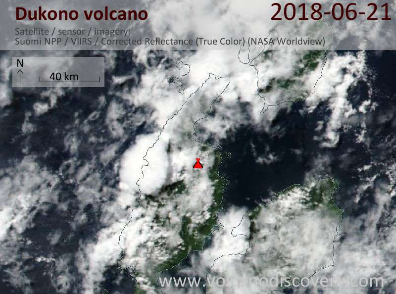 Satellite image of Dukono volcano on 21 Jun 2018