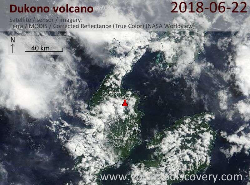 Satellite image of Dukono volcano on 22 Jun 2018
