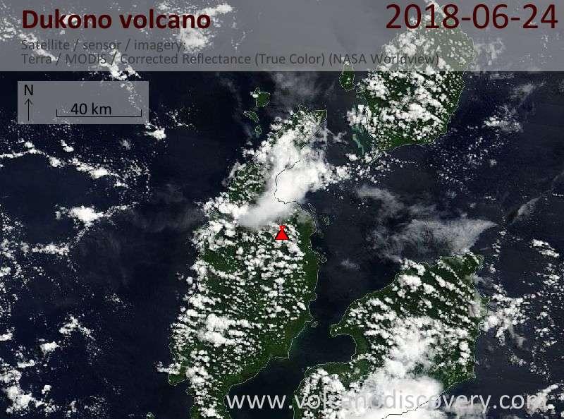 Satellite image of Dukono volcano on 24 Jun 2018