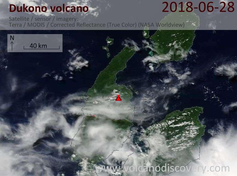 Satellite image of Dukono volcano on 28 Jun 2018