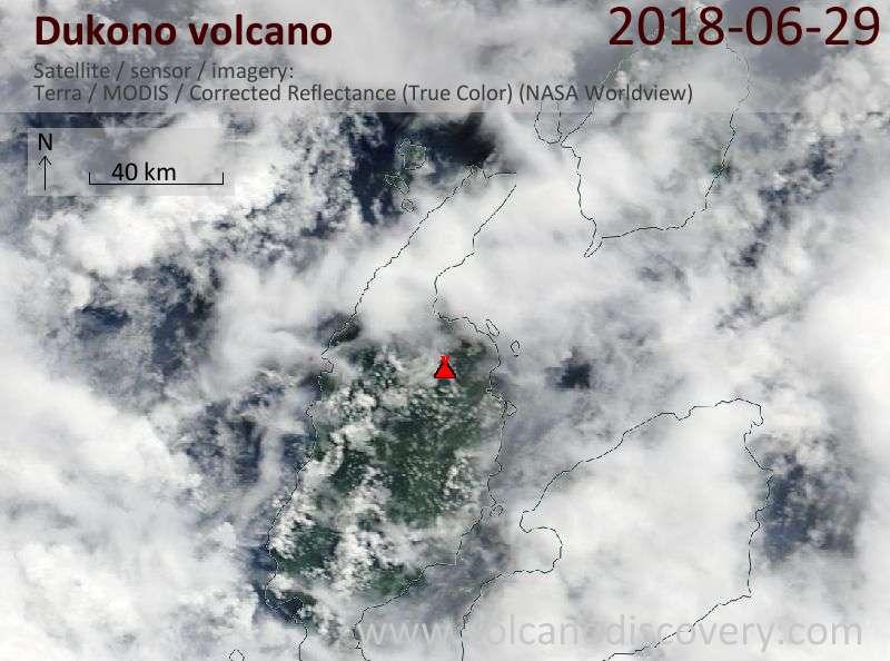 Satellite image of Dukono volcano on 29 Jun 2018