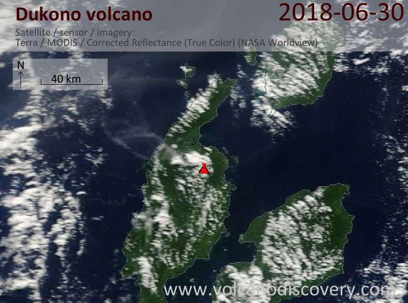 Satellite image of Dukono volcano on 30 Jun 2018