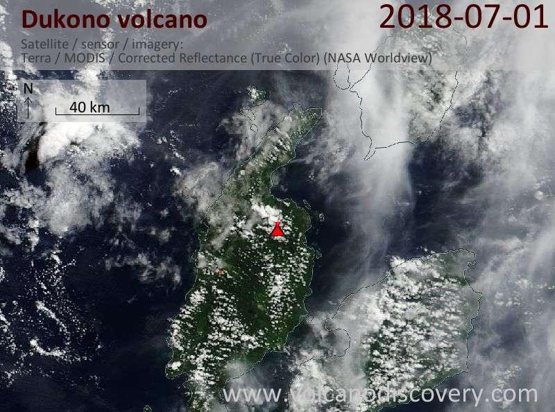 Satellite image of Dukono volcano on  1 Jul 2018
