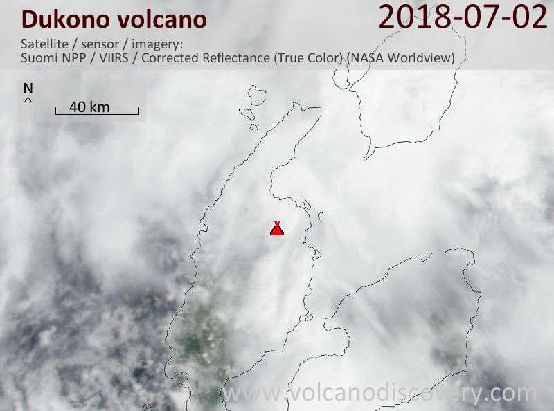 Satellite image of Dukono volcano on  2 Jul 2018