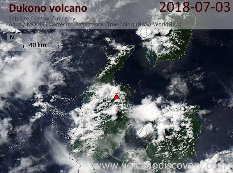 Satellite image of Dukono volcano on  3 Jul 2018