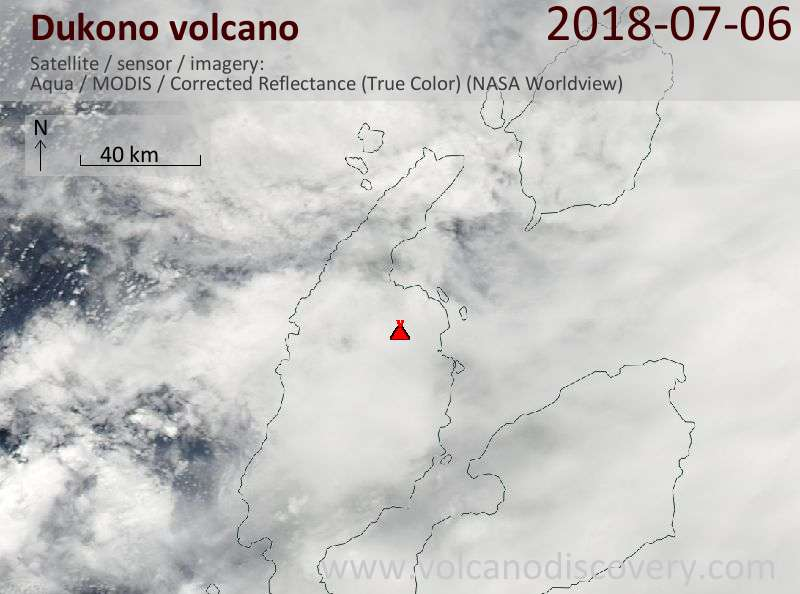 Satellite image of Dukono volcano on  6 Jul 2018