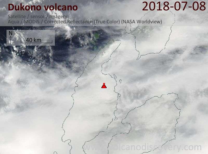Satellite image of Dukono volcano on  8 Jul 2018