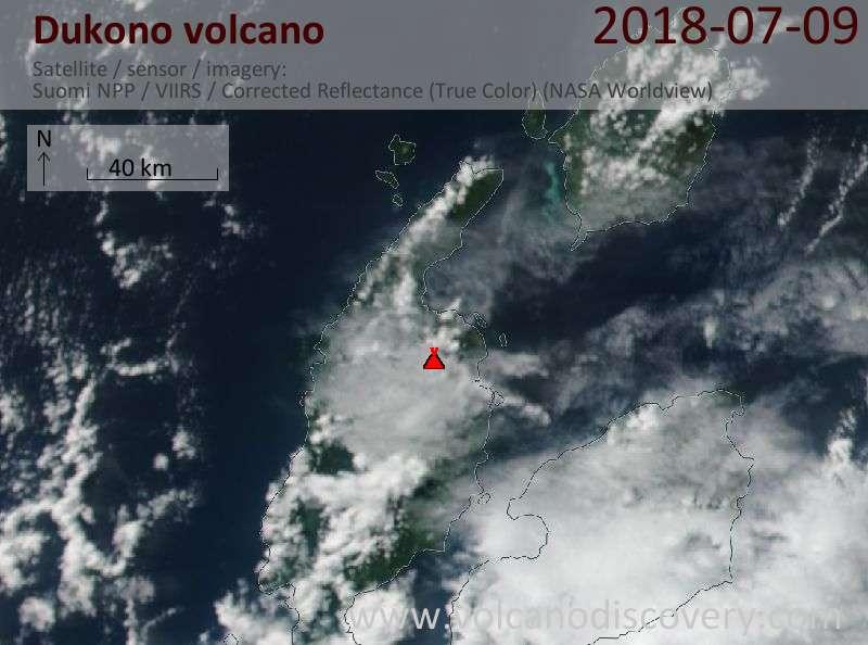 Satellite image of Dukono volcano on  9 Jul 2018