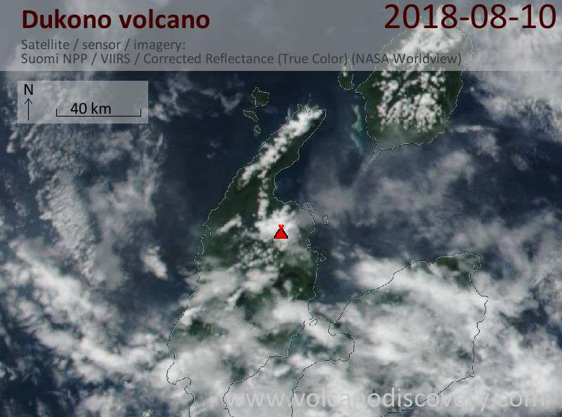 Satellite image of Dukono volcano on 10 Aug 2018