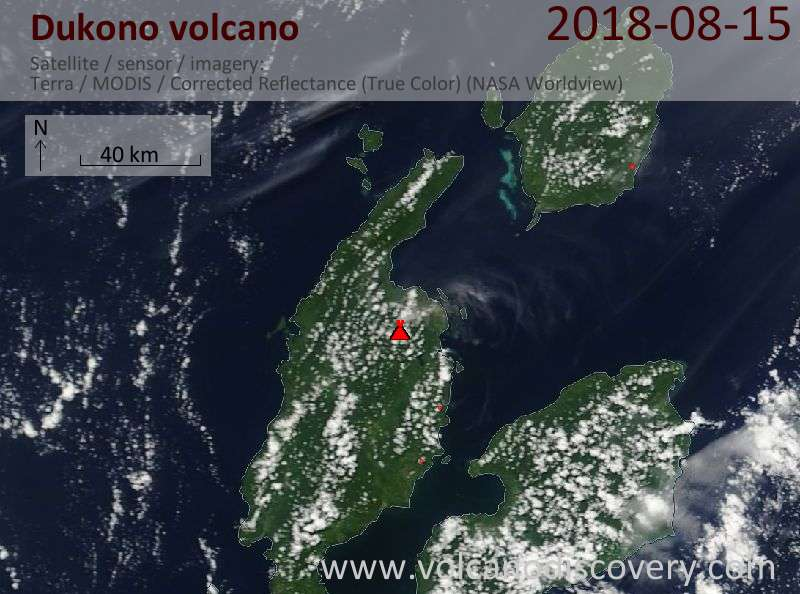 Satellite image of Dukono volcano on 15 Aug 2018