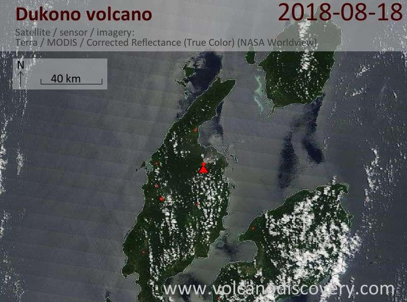 Satellite image of Dukono volcano on 18 Aug 2018