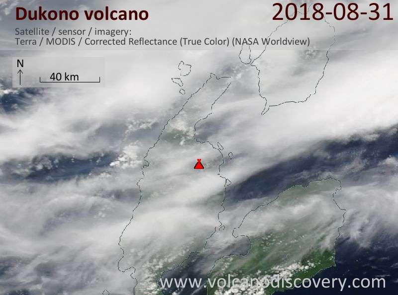 Satellite image of Dukono volcano on 31 Aug 2018