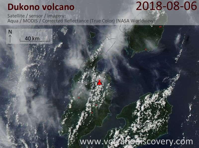 Satellite image of Dukono volcano on  6 Aug 2018