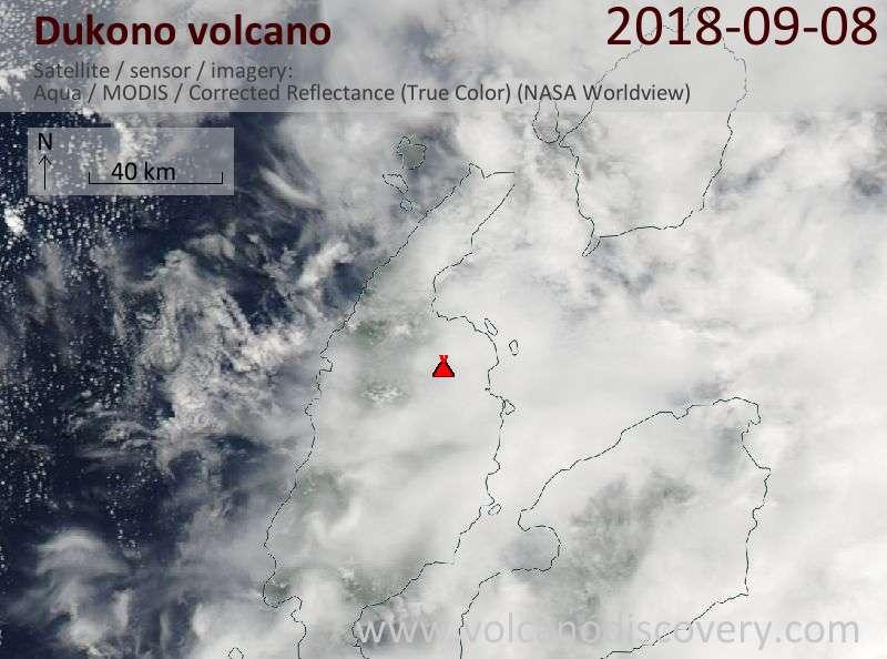 Satellite image of Dukono volcano on  8 Sep 2018