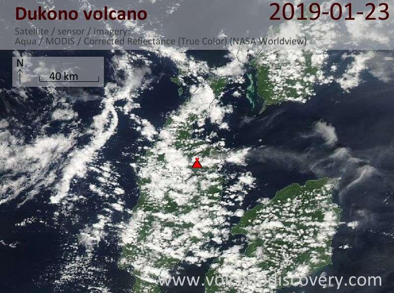 Спутниковое изображение вулкана Dukono 23 Jan 2019