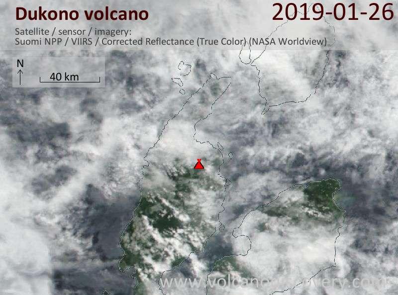 Satellitenbild des Dukono Vulkans am 26 Jan 2019