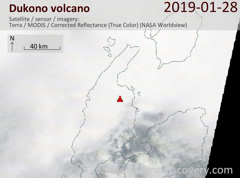 Satellitenbild des Dukono Vulkans am 28 Jan 2019