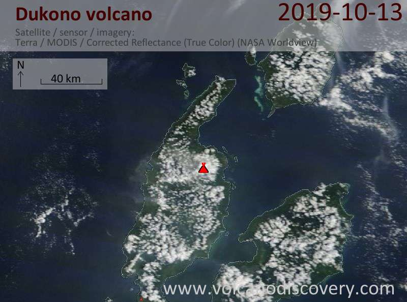 Satellite image of Dukono volcano on 13 Oct 2019