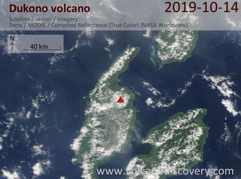 Satellite image of Dukono volcano on 14 Oct 2019