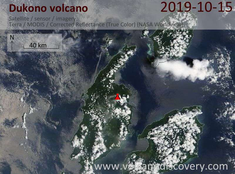 Satellite image of Dukono volcano on 15 Oct 2019