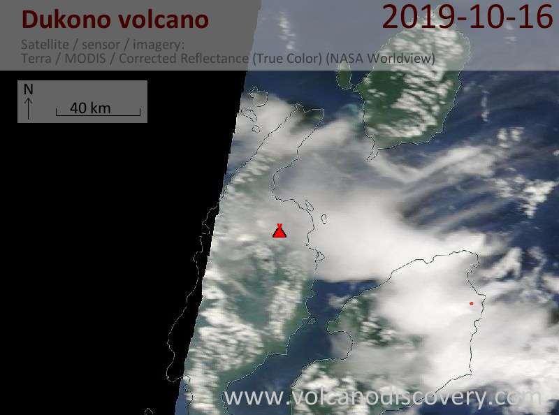 Satellite image of Dukono volcano on 16 Oct 2019